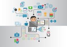 Cyfrowych zdrowie pojęcie jako ilustracja Kreskówki osoba łączył online fabrykować i szpital ilustracji