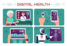 Cyfrowych zdrowie wektorowa ilustracja na nowożytny zaawansowany technicznie zdjęcia stock