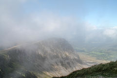 Cyfrwy  The Saddle in mist. Taken from Cadair Idris Panygadair Near Dolgellau North Wales Snowdonia National Park Stock Photo