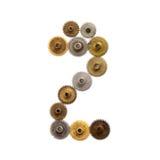 Cyfry numer dwa steampunk cogwheel przekładni mechanizm Textured żelazo brązu kruszcowy nawierzchniowy liczebnik 2 Starzejący się Zdjęcie Royalty Free