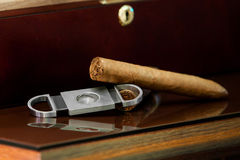 Cygara i krajacz na drewnianym Zdjęcie Stock