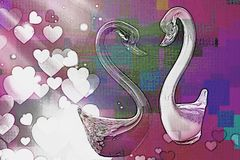 Cygne artistique dans l'amour Images libres de droits