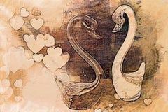 Cygne artistique dans l'amour Photo libre de droits