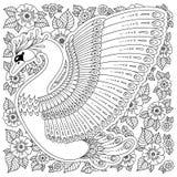 Cygne décoré tiré par la main Image pour livres de coloriage adultes, page Image stock