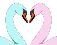 Cygnes colorés d'amour Images libres de droits