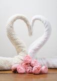 Cygnes de serviettes Photo stock