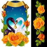 Cygnes et roses jaunes Image stock