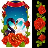 Cygnes et roses rouges Photos libres de droits