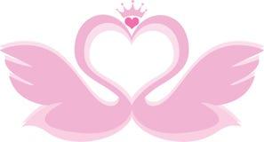 Cygnes formant un coeur illustration libre de droits
