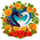 Cygnes, roses et coeurs Photos libres de droits