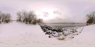 Cygnes sur la rivière 360 degrés banque de vidéos