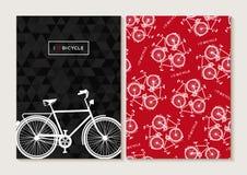 Cykel för affisch för modell för uppsättning för cykelbegrepp retro Royaltyfri Bild