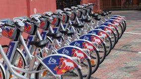 Cykel för att hyra Arkivbild
