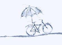 Cykel för blått vatten med paraplyet arkivfoto