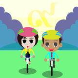 Cykel för farsatecknad film Fotografering för Bildbyråer