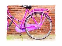 Cykel för rosa färger för vattenfärg Arkivfoto