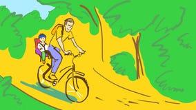 Cykel för tecknad filmmanridning med ett barn i en cykelplats i en parkera eller en skog Arkivbilder