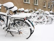 Cykel i snow Royaltyfri Foto