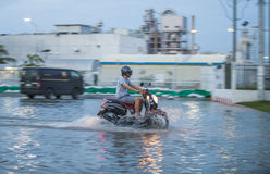 Cykel i vattenöversvämning Royaltyfria Foton