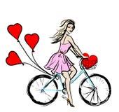 Cykel med ballonger Arkivfoto