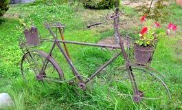 Cykel med blommakorgen arkivbild