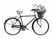 Cykel med blommakorgen, vitt som isoleras på vit bakgrund stock illustrationer