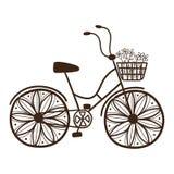 Cykel med blommor Arkivfoto