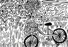 Cykel med en blommakorg i ett fridsamt landskap stock illustrationer