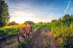 Cykel nära vägen i fältet på solnedgången royaltyfri fotografi
