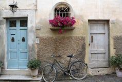 Cykel och blommor Arkivfoton