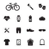 Cykel och cykla tillbehörsymboler Royaltyfria Bilder
