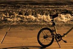 Cykel på kusten i sepiastil royaltyfri bild