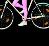 Cykel på svart Royaltyfria Bilder