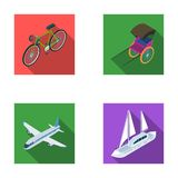 Cykel rickshaw, nivå, yacht Lagerför fastställda samlingssymboler för transport i plant stilvektorsymbol illustrationrengöringsdu stock illustrationer