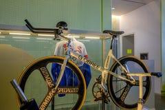 Cykel som byggs av Graeme Obree den skotska cyklisten och hållaren av många hastighetsrekord Royaltyfri Foto