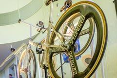 Cykel som byggs av Graeme Obree den skotska cyklisten och hållaren av många hastighetsrekord Arkivbilder