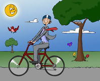 cykel som fungerar Royaltyfria Foton
