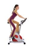 cykel som gör den stationära kvinnan för kondition Arkivfoto