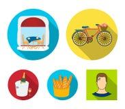 Cykel transport, medel, kafé Symboler för samling för Frankrike landsuppsättning i plant stilvektorsymbol lagerför illustrationre Arkivbilder