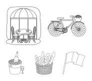 Cykel transport, medel, kafé Symboler för samling för Frankrike landsuppsättning i symbol för översiktsstilvektor lagerför illust Arkivfoto