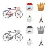 Cykel transport, medel, kafé Symboler för samling för Frankrike landsuppsättning i tecknade filmen, monokromt materiel för stilve Royaltyfri Bild