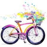 cykel Vattenfärgcykel- och blommabakgrund Hello fjädrar vattenfärgtext