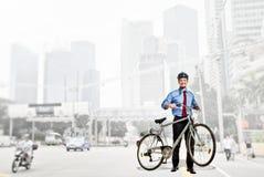 cykelaffärsman royaltyfri foto