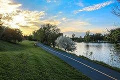 Cykelbana bredvid floden royaltyfri foto