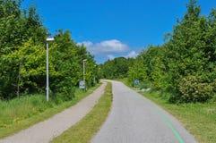 Cykelbana i Aalborg Danmark Royaltyfri Bild