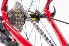 Cykelbegrepp Crankset och bakre kassett med den nya kedjan Royaltyfri Fotografi