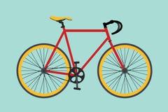 Cykelcyklar som isoleras med röd och gul färg royaltyfri illustrationer