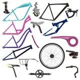 Cykeldelar och cykla utrustningvektorillustrationen stock illustrationer