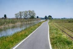 Cykelgränd längs Naviglioen av Bereguardo Italien Arkivfoto