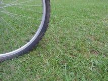 Cykelgummihjul på gräs royaltyfri fotografi
